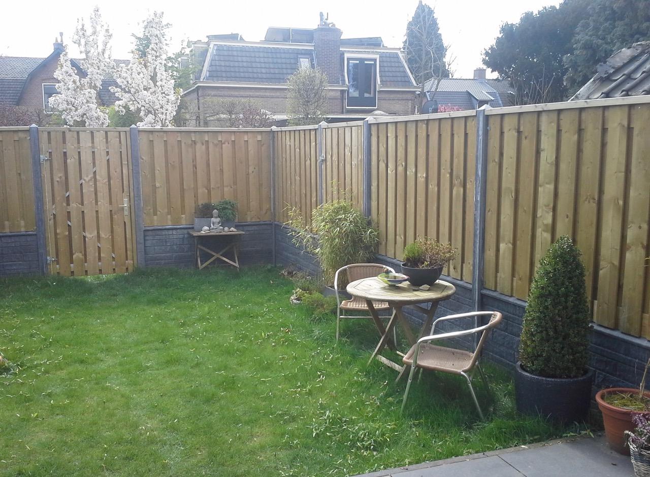 tuin met gras en potten